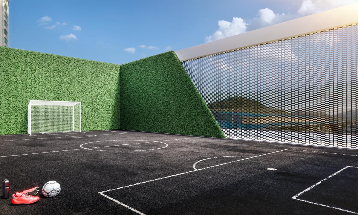 Futebol society com grama sintética preta