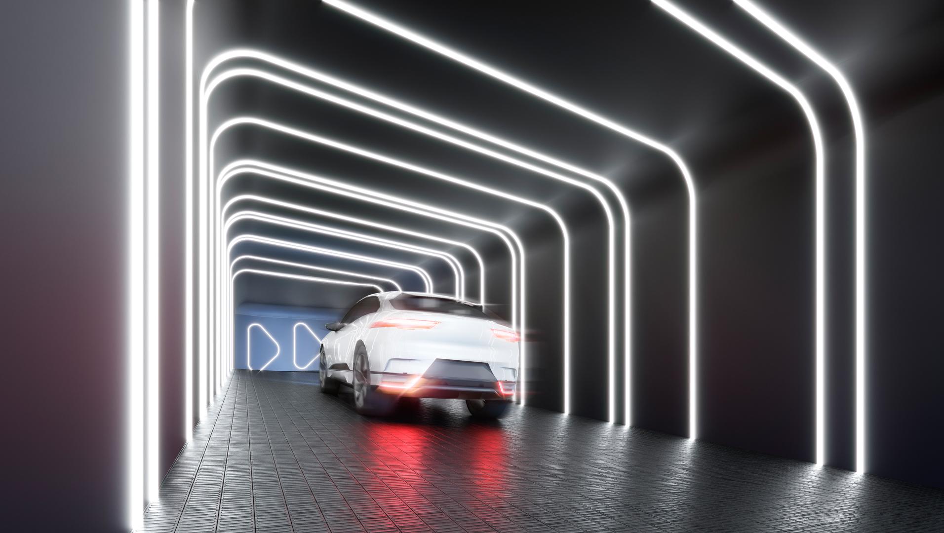 Entrada de garagem com iluminação interativa e automatizada