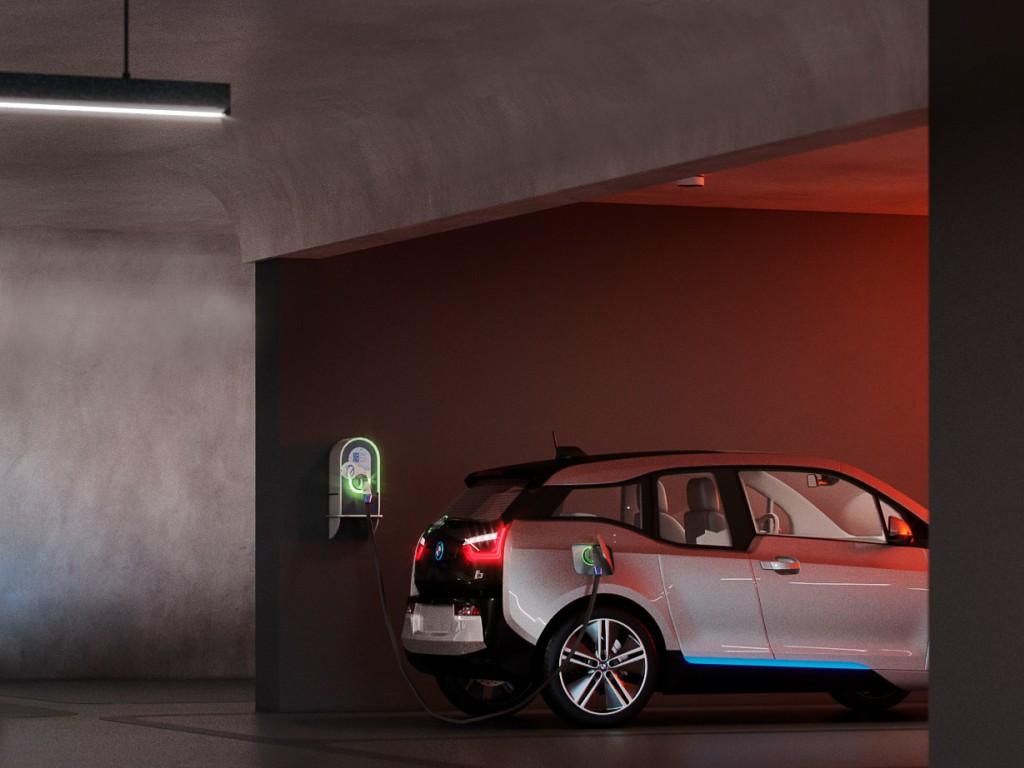 Um ponto de abastecimento para carros elétricos exclusivo por apto