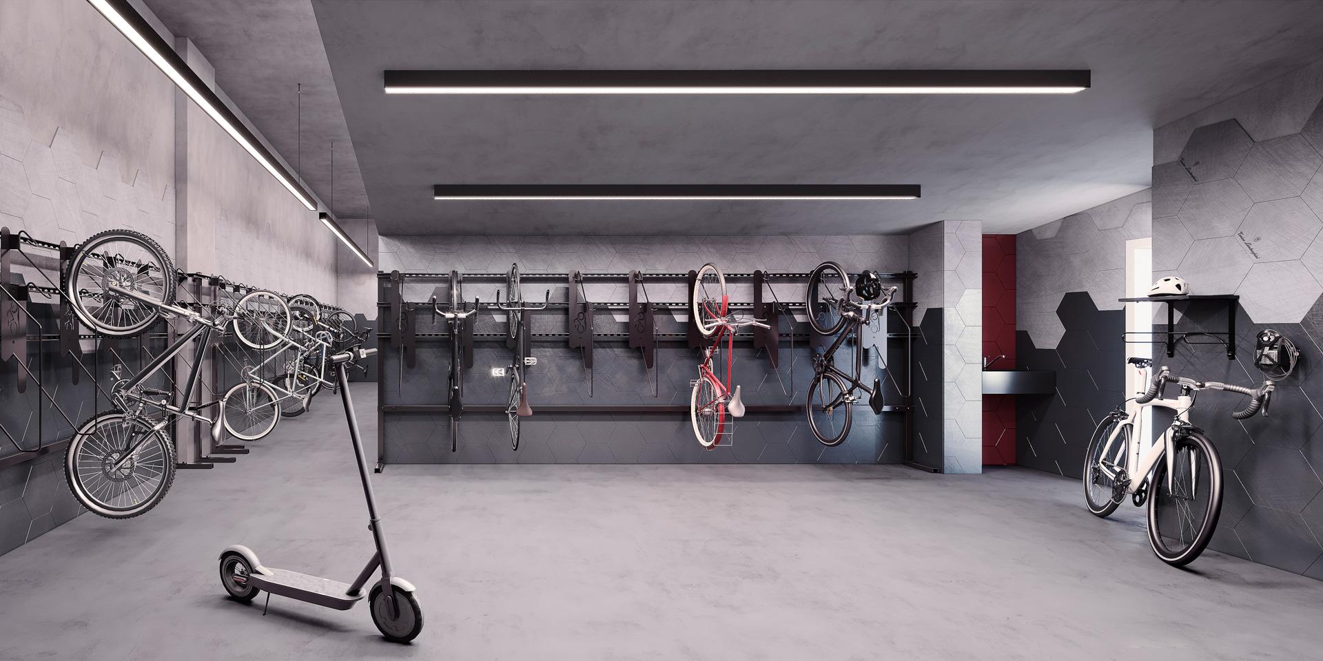 Bicicletário para guarda e manutenção de bicicletas com acesso por biometria ou senha