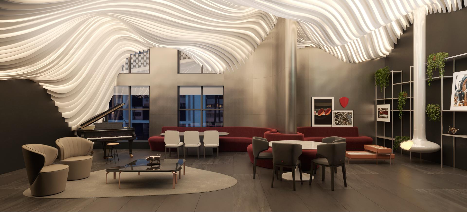 Lounge com piano, lareira e cozinha de apoio